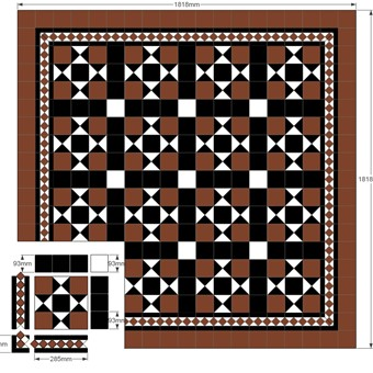 Modular Split - Donard Cotto  Panel in Tollymore Layout with, Black and White Field Tiles, Cotto Border and Corner Sizes.jpg