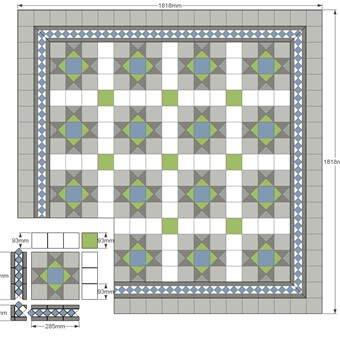 Modular Split - Donard Lime  Panel in Tollymore Layout with, White and Lime Field Tiles, Imperium Blue Border and Corner Sizes.jpg