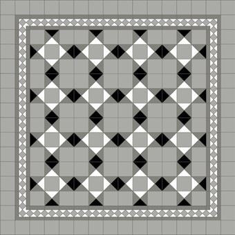 Donard Monochrome Panels - Sample Laying Patterns (3) with Gosford Pavilion Grey Border and Pavilion Grey Field Tiles.jpg