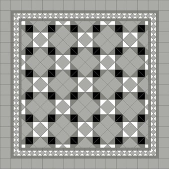 Donard Monochrome Panels - Sample Laying Patterns (4) on diamond with Gosford Pavilion Grey Border and Pavilion Grey Field Tiles.jpg