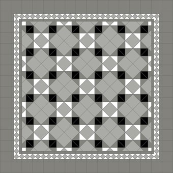 Donard Monochrome Panels - Sample Laying Patterns (5) on diamond with Gosford Pavilion Grey Border and Shadow Field Tiles.jpg