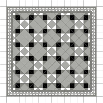 Donard Monochrome Panels - Sample Laying Patterns (7) on diamond with Gosford Pavilion Grey Border and White Field Tiles.jpg