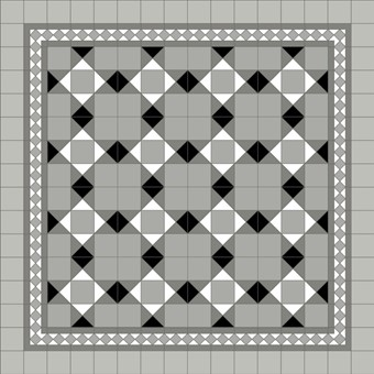 Donard Monochrome Panels - Sample Laying Patterns (8) with Gosford Pavilion Grey Border and Prata Field Tiles.jpg