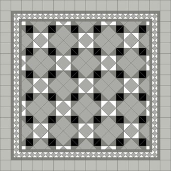 Donard Monochrome Panels - Sample Laying Patterns (9) on diamond  with Gosford Pavilion Grey Border and Prata Field Tiles.jpg