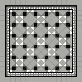 Donard Monochrome Panels - Sample Laying Patterns (11) on diamond with Gosford Shadow Border and Pavion Grey Field Tiles.jpg