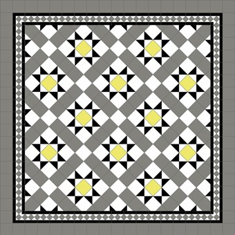 Donard Sonne Panels in Tollymore Pattern tollymore (diamond) with Shadow Grey Border, Shadow & White Field Tiles.jpg
