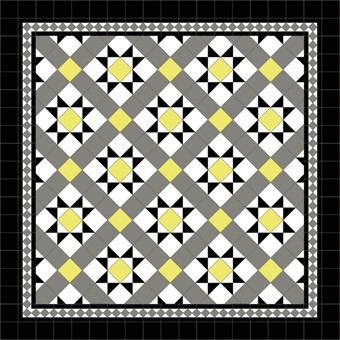 Donard Sonne Panels in Tollymore Pattern tollymore (diamond) with Shadow Grey Border, Shadow, Black & Sun Field.jpg