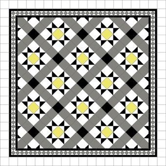 Donard Sonne Panels in Tollymore Pattern tollymore (diamond) with Shadow Grey Border, Shadow, Black & White Tiles.jpg
