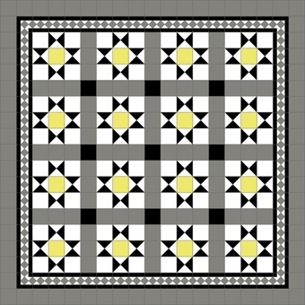 Donard Sonne Panels in Tollymore Pattern tollymore (straight) with Shadow Grey Border, Shadow & Black Field tiles.jpg