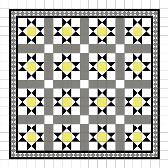 Donard Sonne Panels in Tollymore Pattern tollymore (straight) with Shadow Grey Border, Shadow & White Field Tiles.jpg