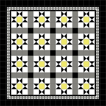 Donard Sonne Panels in Tollymore Pattern tollymore (straight) with Shadow Grey Border, Shadow, Black Field tiles.jpg