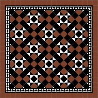 Donard Cotto Panels in Tollymore Pattern (diamond) with Black and Cotto Field Tiles, Gosford B&W Border and Cotto Surround.jpg