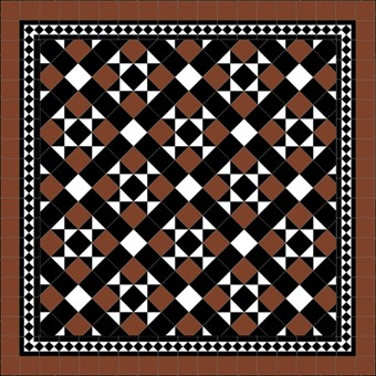 Donard Cotto Panels in Tollymore Pattern (diamond) with Black and White Field Tiles, Gosford B&W Border and Cotto Surround.jpg