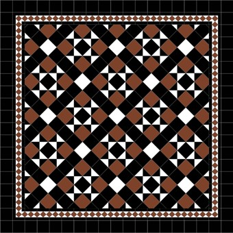 Donard Cotto Panels in Tollymore Pattern (diamond) with Black and White Field Tiles, Gosford Cotto Border and Black Surround.jpg