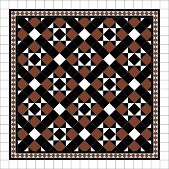 Donard Cotto Panels in Tollymore Pattern (diamond) with Black and White Field Tiles, Gosford Cotto Border and White Surround.jpg