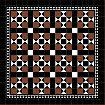 Donard Cotto Panels in Tollymore Pattern (straight) with Black and White Field Tiles, Gosford B&W Border and Black Surround (2).jpg