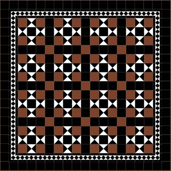 Donard Cotto Panels in Tollymore Pattern (straight) with Black and White Field Tiles, Gosford B&W Border and Black Surround.jpg