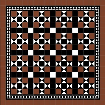 Donard Cotto Panels in Tollymore Pattern (straight) with Black and White Field Tiles, Gosford B&W Border and Cotto Surround.jpg