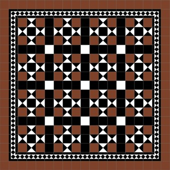 Donard Cotto Panels in Tollymore Pattern (straight) with Black and White Field Tiles, Gosford Cotto Border and Cotto Surround.jpg