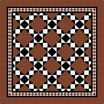 Donard Cotto Panel - Sample Laying Patterns (4) on Diamond with Gosford Cotto Borders and Cotto Field Tiles.jpg